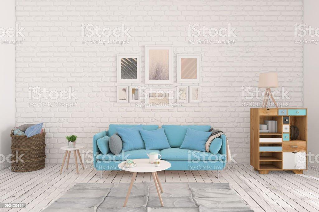 Minimalista Moderno Interior Salón Comedor Con Sofá Azul Foto de ...