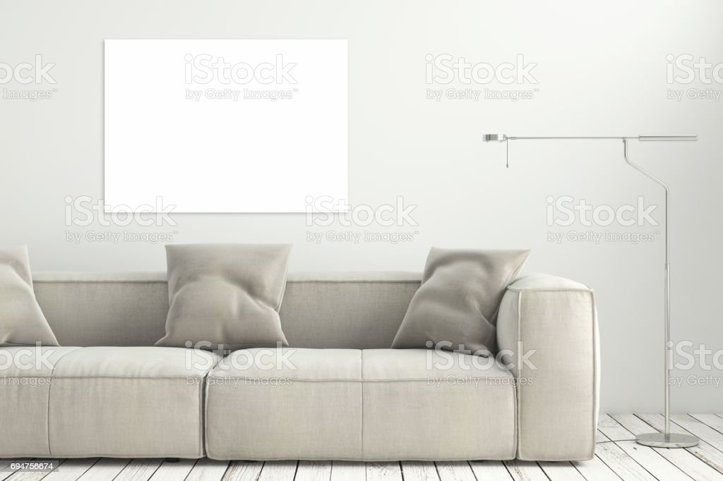 Mock up poster on white wall and white floor room modern interior