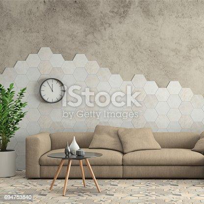 istock Minimalist modern interior living room with sofa and hexagon tiles on the wall 694753840