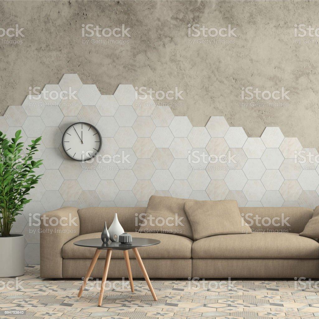Minimalist modern interior living room with sofa and hexagon tiles on the wall stock photo
