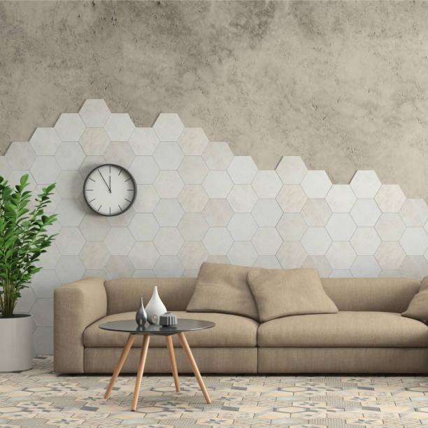 minimalistische moderne interieur wohnzimmer mit sofa und sechseck fliesen an der wand - teppich geometrisch stock-fotos und bilder