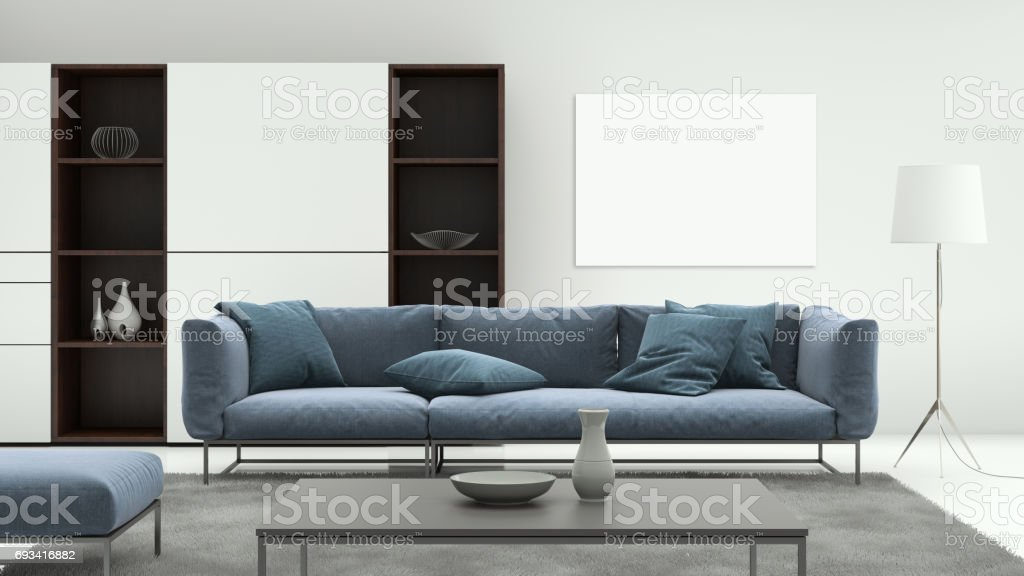 Minimalist modern interior living room with sofa and poster frame stock photo
