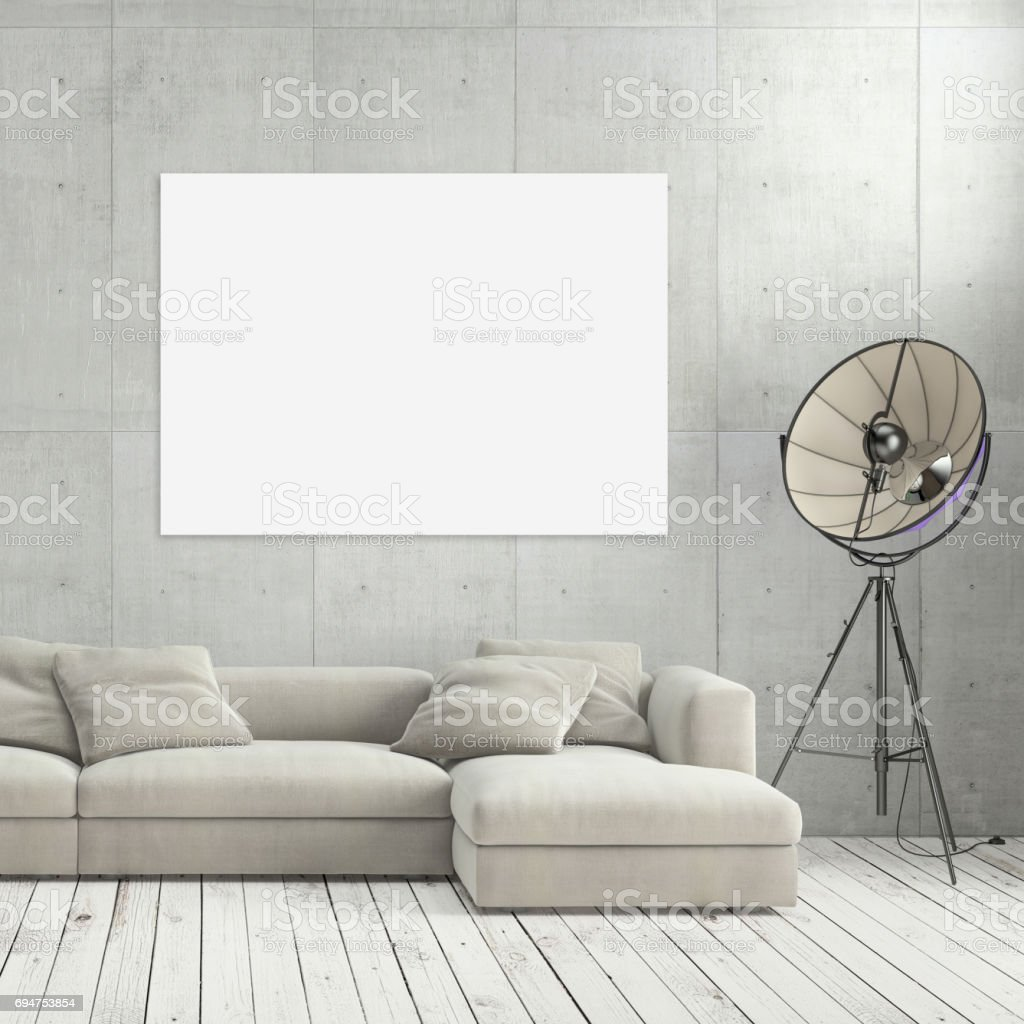 minimalist modern interior living room with sofa and poster frame