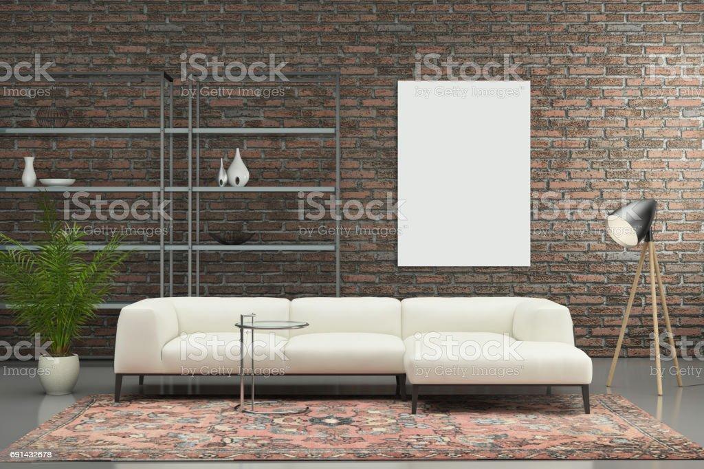 Minimalistische Moderne Interieur Wohnzimmer Mit Sofa Stock