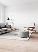 Minimalist modern interior. Render image.