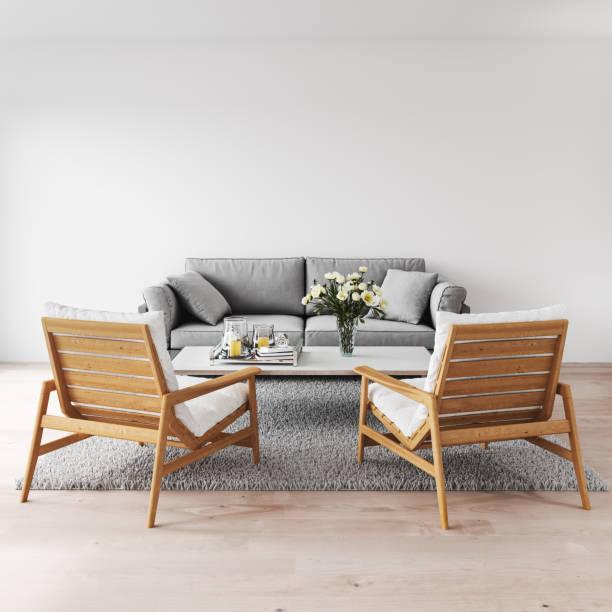 minimalistische moderne interieur - couchtisch metall stock-fotos und bilder
