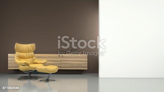 istock Minimalist modern interior with yellow armchair 671962548