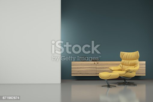 Yellow armchair in a minimalist interior, dark and light color wall combination. wooden shelf in the background. empty wall for copy space. designer template