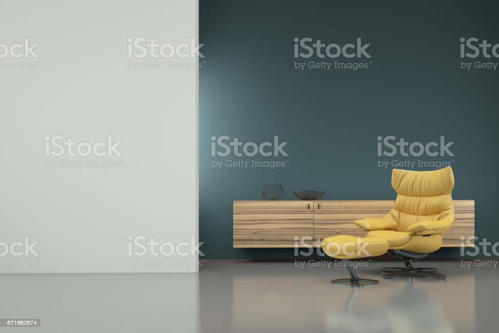 Minimalist modern interior with yellow armchair stock photo