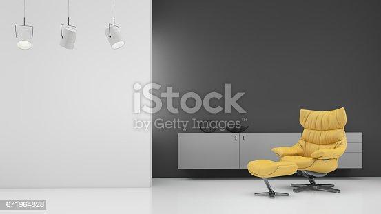 istock Minimalist modern interior with yellow armchair 671964828