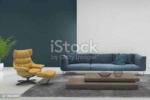istock Minimalist modern interior with yellow armchair 671964858