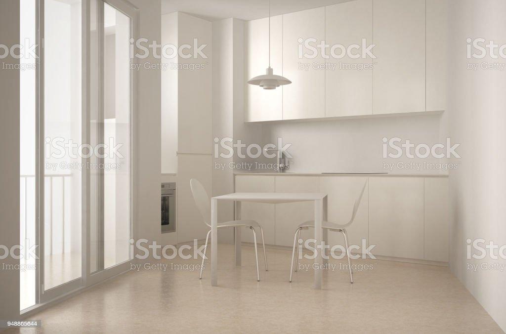 Mit Minimalistische Küche Fenster Innenarchitektur Weißen Architektur Mehr Esstisch Stühlen Und Stockfoto Bilder Von Großem Moderne 3R5jLA4
