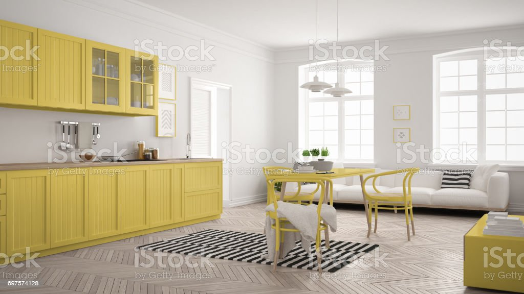 Minimalist Modern Kitchen With Dining Table And Living Room White Yellow Scandinavian Interior Design