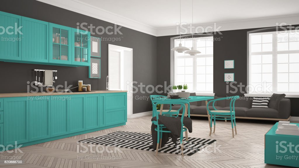 Minimalistische Moderne Küche Mit Esstisch Und Wohnzimmer Weiß Und Türkis  Skandinavisches Interior Design Stockfoto und mehr Bilder von Architektur