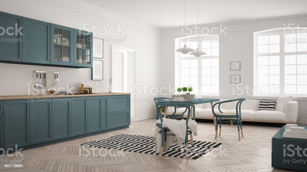 Minimalistische moderne küche mit esstisch und wohnzimmer weiß und