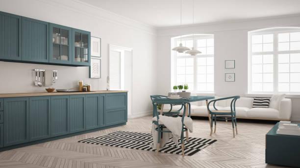 minimalistische moderne küche mit esstisch und wohnzimmer, weiß und blau luftwaffe skandinavischen interior design - küche italienisch gestalten stock-fotos und bilder