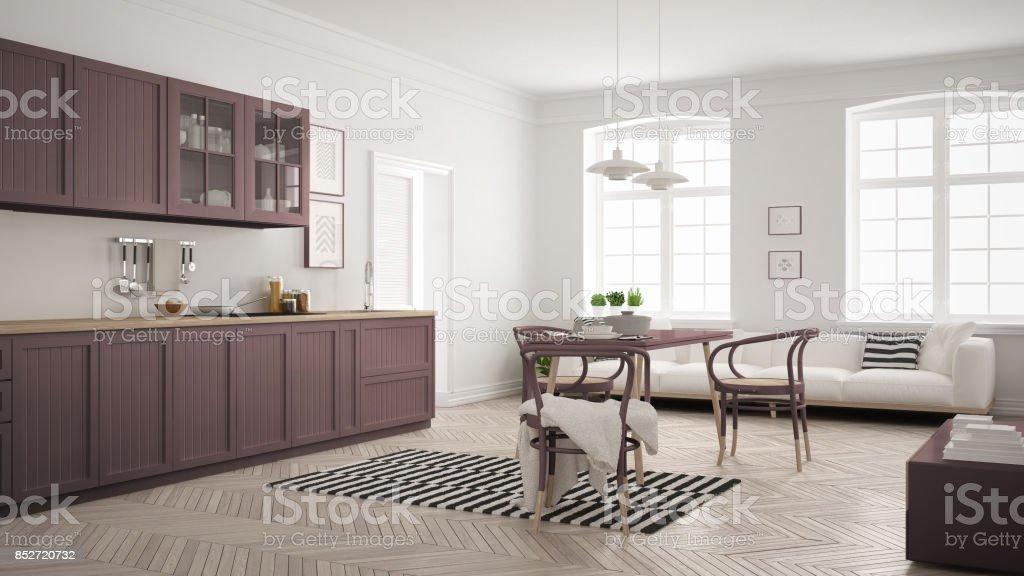 Minimalistische Moderne Kuche Mit Esstisch Und Wohnzimmer Weisse Und