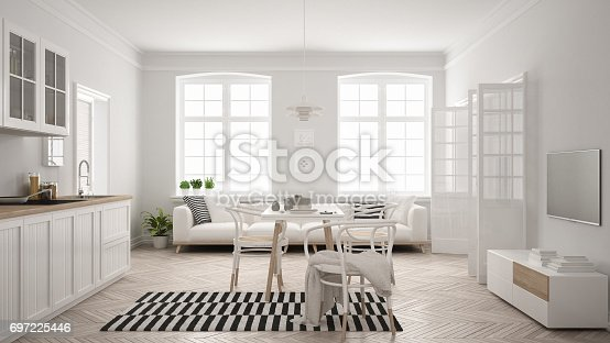 istock Minimalist modern kitchen with dining table and living room, white scandinavian interior design 697225446