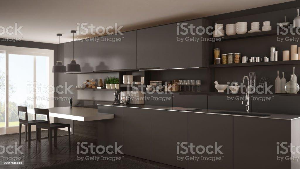 Cocina Moderna Minimalista Con Detalles De Madera Mesa Y Sillas Diseño De  Interiores Gris Foto de stock y más banco de imágenes de A la moda