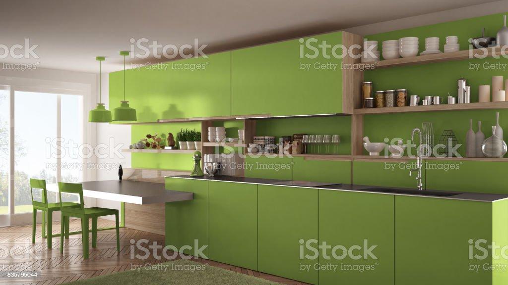 Cocina Moderna Minimalista Con Detalles De Madera Mesa Y Sillas Diseño De  Interiores Verde Foto de stock y más banco de imágenes de A la moda