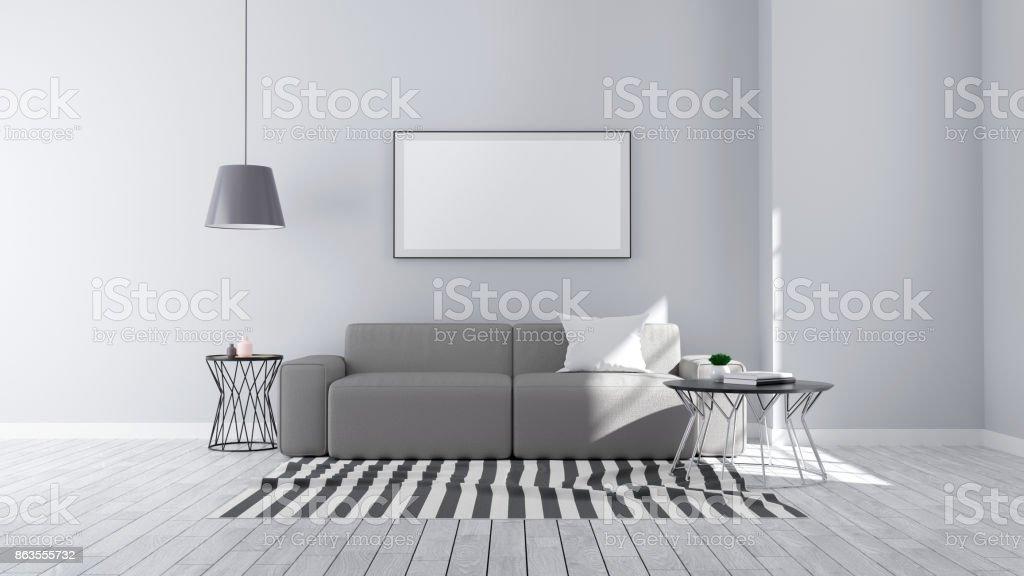 Hervorragend Modernen Minimalistischen Stil, Wohnzimmer Innenraum Konzeptdesign, Grau  Sofa Und Schwarze Lampe Auf Holzboden