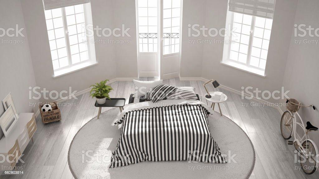 Minimalist Modern White Bedroom Classic Nordic Interior Design Top View Stock Photo Download Image Now Istock