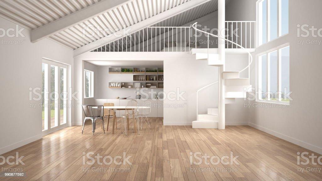 Minimalistische Freifläche Weiße Küche Mit Mezzanine Und Moderne ...