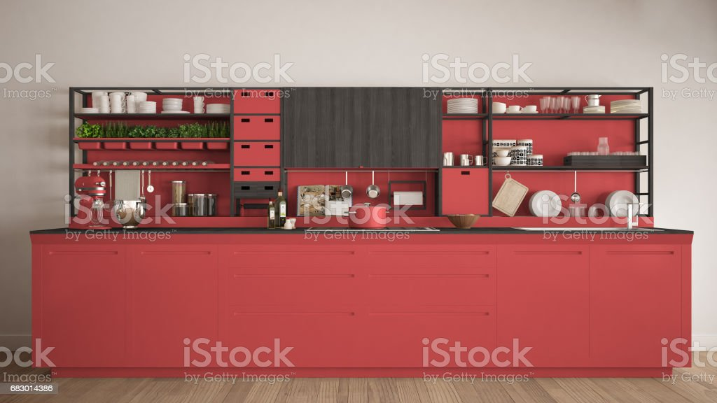 Minimalist red wooden kitchen with appliances close-up, scandinavian classic interior design foto de stock royalty-free