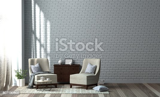 1095381860istockphoto Minimalist room interior with armchair plant in front of clean walls 3D Rendering modern living room style 807190802
