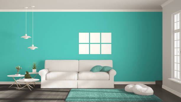 Minimalist room, simple white, gray and turquoise living with big window, scandinavian classic interior design stock photo