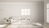 Minimalist room, simple white living with big window, scandinavian classic interior design