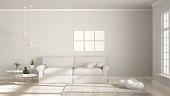 Minimalist room, simple white living with big window, scandinavian classic interior design