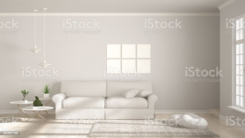Minimalist room, simple white living with big window, scandinavian classic interior design stock photo