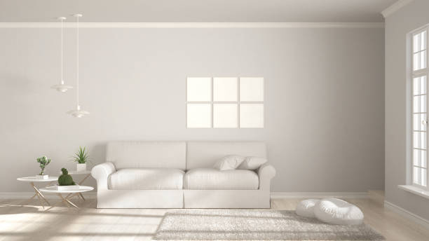 Minimalist room, simple white living with big window, scandinavian classic interior design ストックフォト
