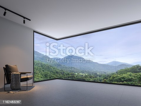 994217090istockphoto Minimalist room space with nature view 3d render 1162483287