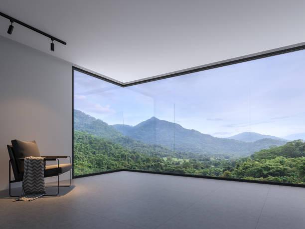 Minimalistischer Raum mit Naturblick 3D-Render – Foto