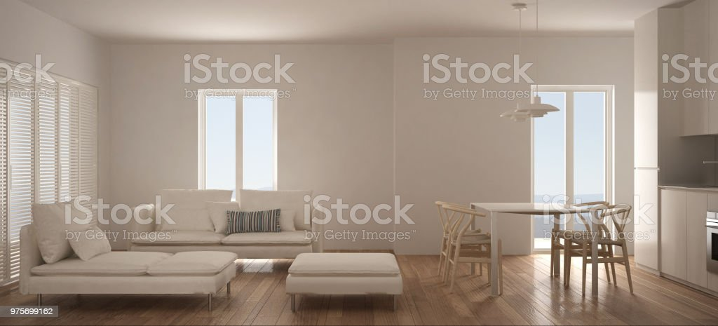 Minimalista Escandinava Sala De Estar Com Cozinha E Mesa De Jantar, Sofá,  Pufe E