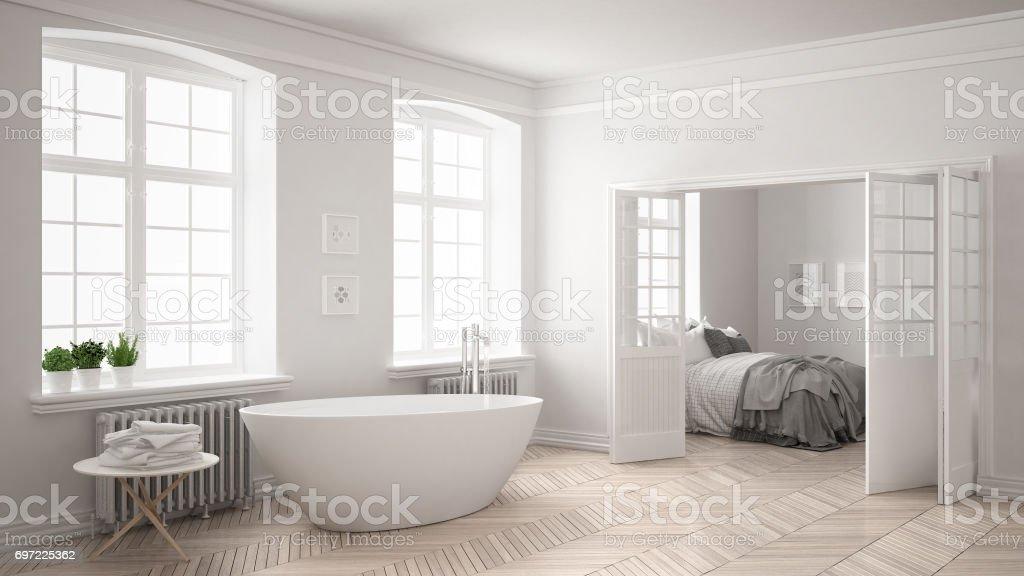 Minimalist scandinavian white bathroom with bedroom in the background, classic interior design stock photo