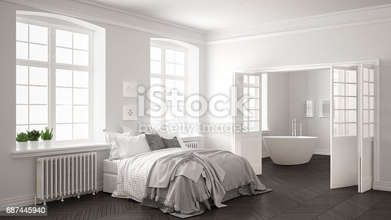 istock Minimalist scandinavian white bedroom with bathroom in the background, classic white and gray interior design 687445940