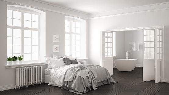 Minimalist Scandinavian White Bedroom With Bathroom In The ...