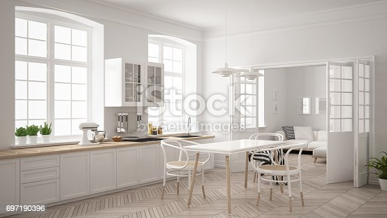istock Minimalist scandinavian white kitchen with living room in the background, classic white interior design 697190396