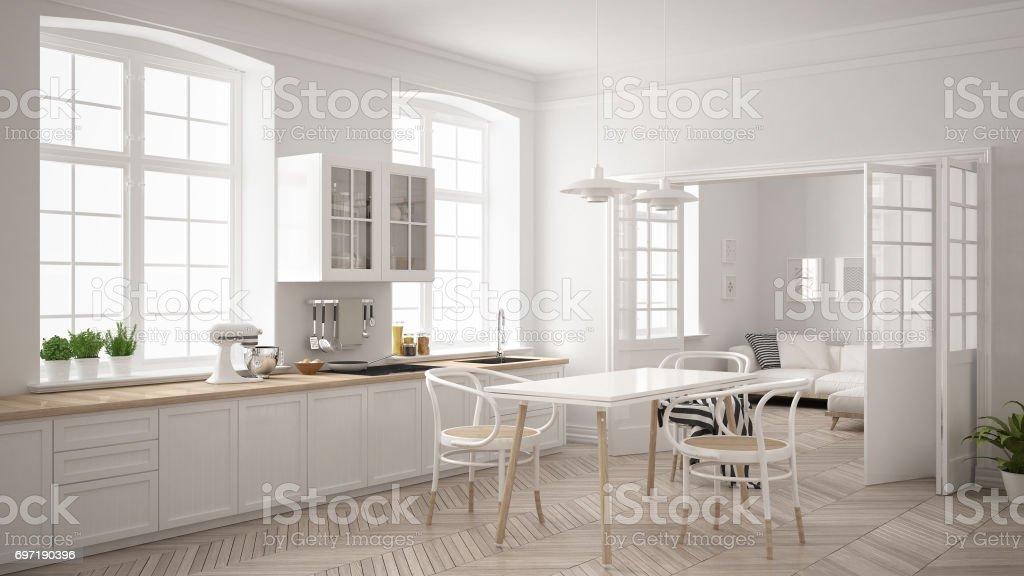 Minimalistischen skandinavischen weiße Küche mit Wohnzimmer im Hintergrund, klassische weiße Innenarchitektur – Foto
