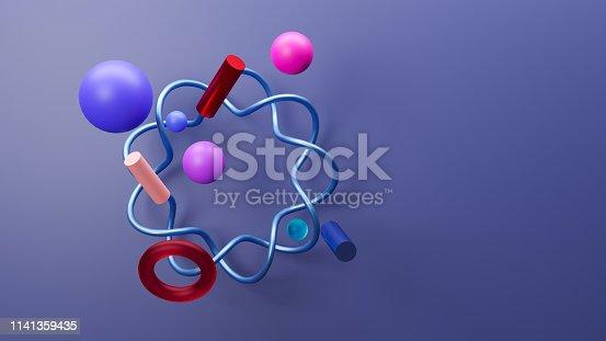 istock Minimalist scene with geometric shapes. 3d illustration render 1141359435