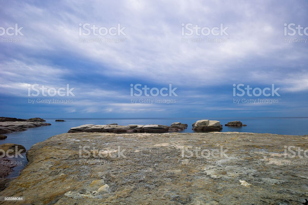Minimalist seascape, Iwami Coast, Japan stock photo