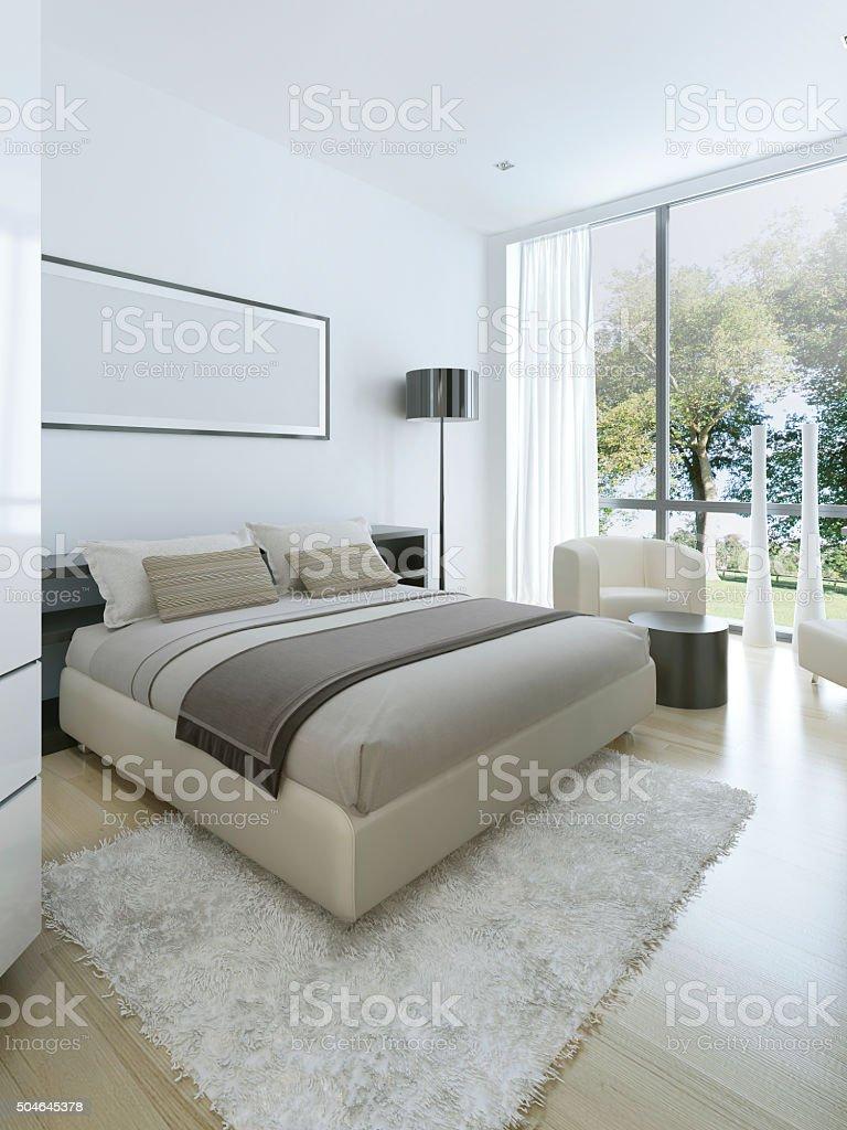 Minimalist style in interior of bedroom stock photo