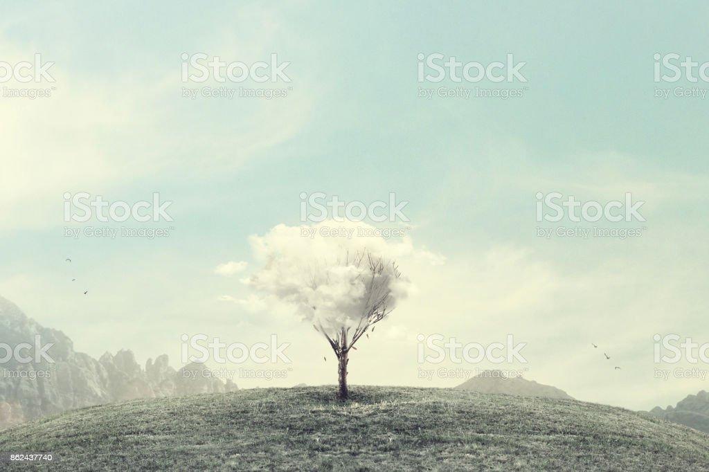 minimalist surreal winter landscape stock photo