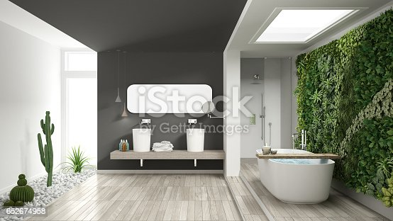 istock Minimalist white and gray bathroom with vertical and succulent garden, wooden floor and pebbles, hotel, spa, modern interior design 652674958