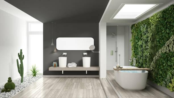 minimalistische weiße und graue badezimmer mit vertikalen und saftige garten, holzboden und kieselsteine, hotel, spa, modernes interior design - badezimmermöbel holz stock-fotos und bilder