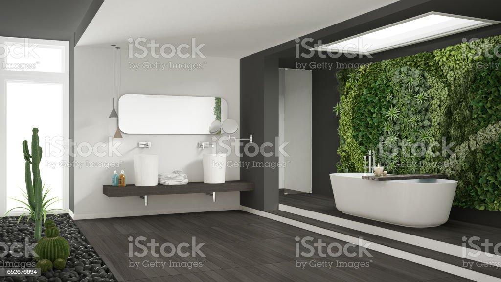 Minimalistische weiße und graue badezimmer mit vertikalen und