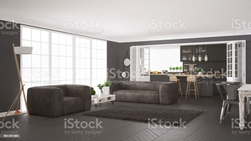Minimalist white and gray living and kitchen, scandinavian classic interior design royalty-free stock photo